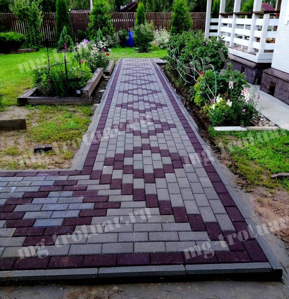 рисунок (узоры) укладки тротуарной плитки брусчатки двух цветов (1)
