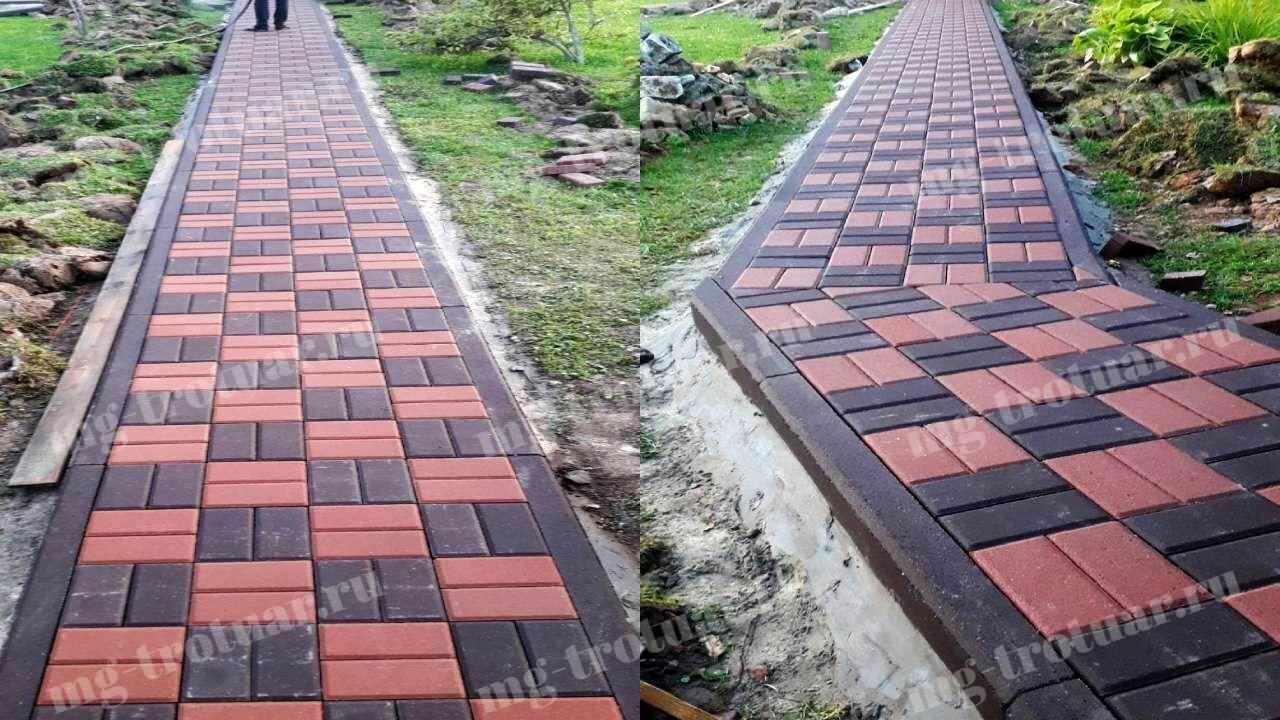 садовые дорожки из брусчатки 200x100x60 красного и коричневого цвета (2) (1)