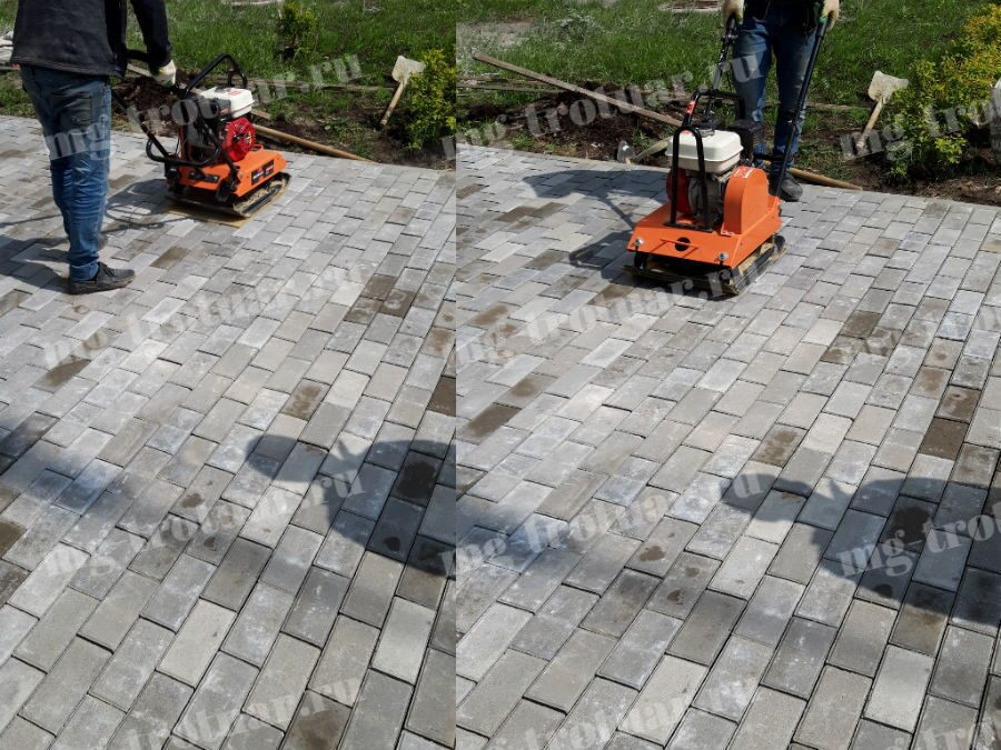 Трамбовка тротуарной плитки после укладки