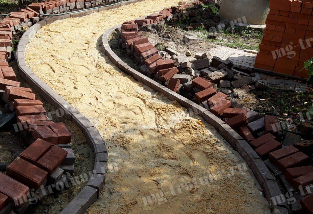 Установка бордюрного камня 1000x200x80 мм для тротуарной плитки в Москве и московской области