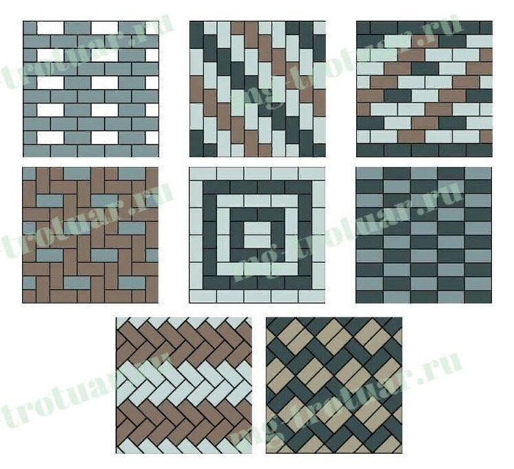 варианты укладки тротуарной плитки брусчатки 200x100x60 в московской области