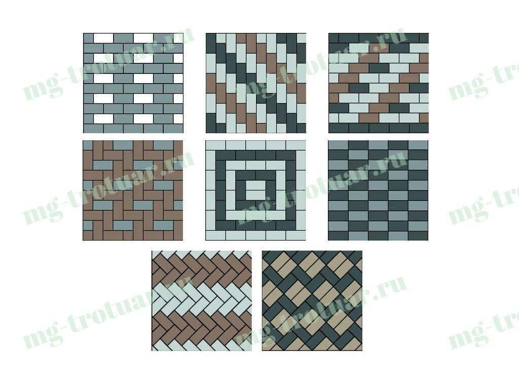варианты укладки тротуарной плитки брусчатки 200x100x60 в Москве и московской области