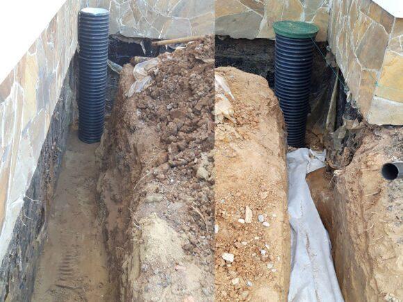 дренаж участка, выемка грунта, укладка дренажной трубы и засыпка песка и щебня